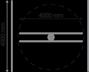 Skizze zu den Abmessungen eines Werkstücks im Rotationsguss